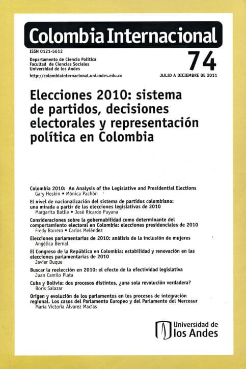 Revista Colombia Internacional 74 de la Universidad de los Andes