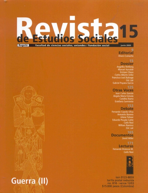 Revista de Estudios Sociales 15 de la Universidad de los Andes