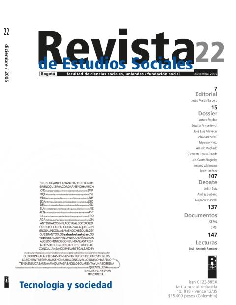 Revista de Estudios Sociales 22 de la Universidad de los Andes
