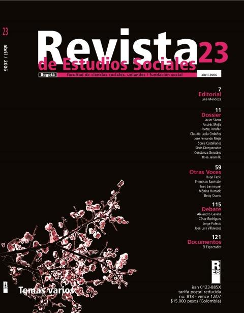 Revista de Estudios Sociales 23 de la Universidad de los Andes