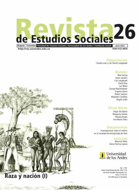 Revista de Estudios Sociales 26 de la Universidad de los Andes
