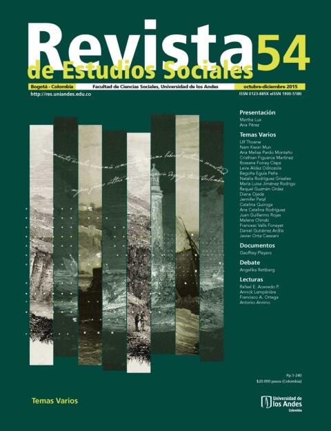 Revista de Estudios Sociales 54 de la Universidad de los Andes