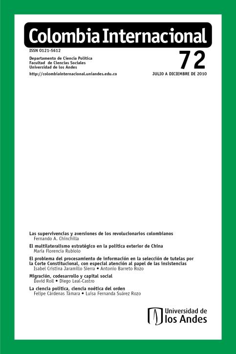 Revista Colombia Internacional 72 de la Universidad de los Andes