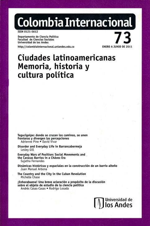 Revista Colombia Internacional 73 de la Universidad de los Andes